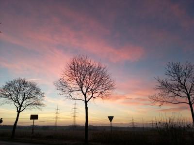 Sonnenaufgang zwischen Bochum-Sevinghausen und Essen-Freisenbruch